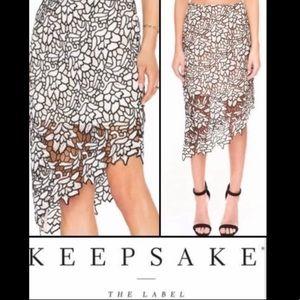 Keepsake The Label Asymmetrical Lace Floral Skirt